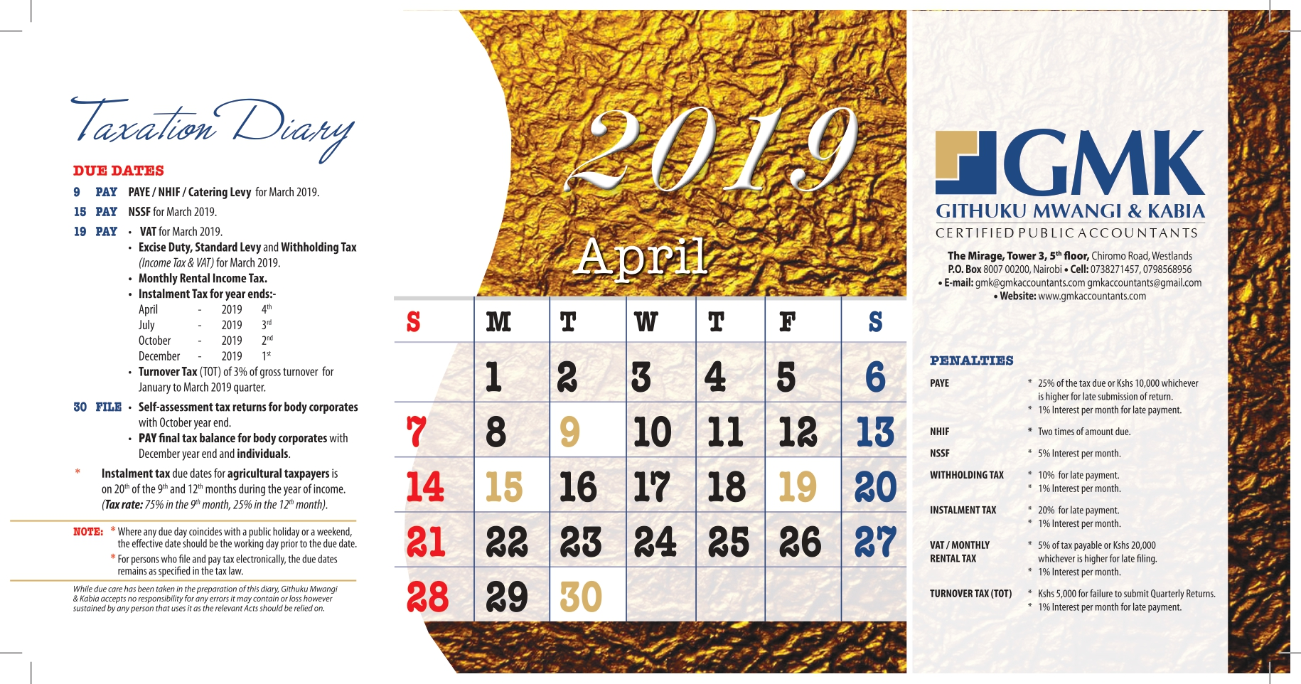 GMK Taxation Calendar: APRIL 2019
