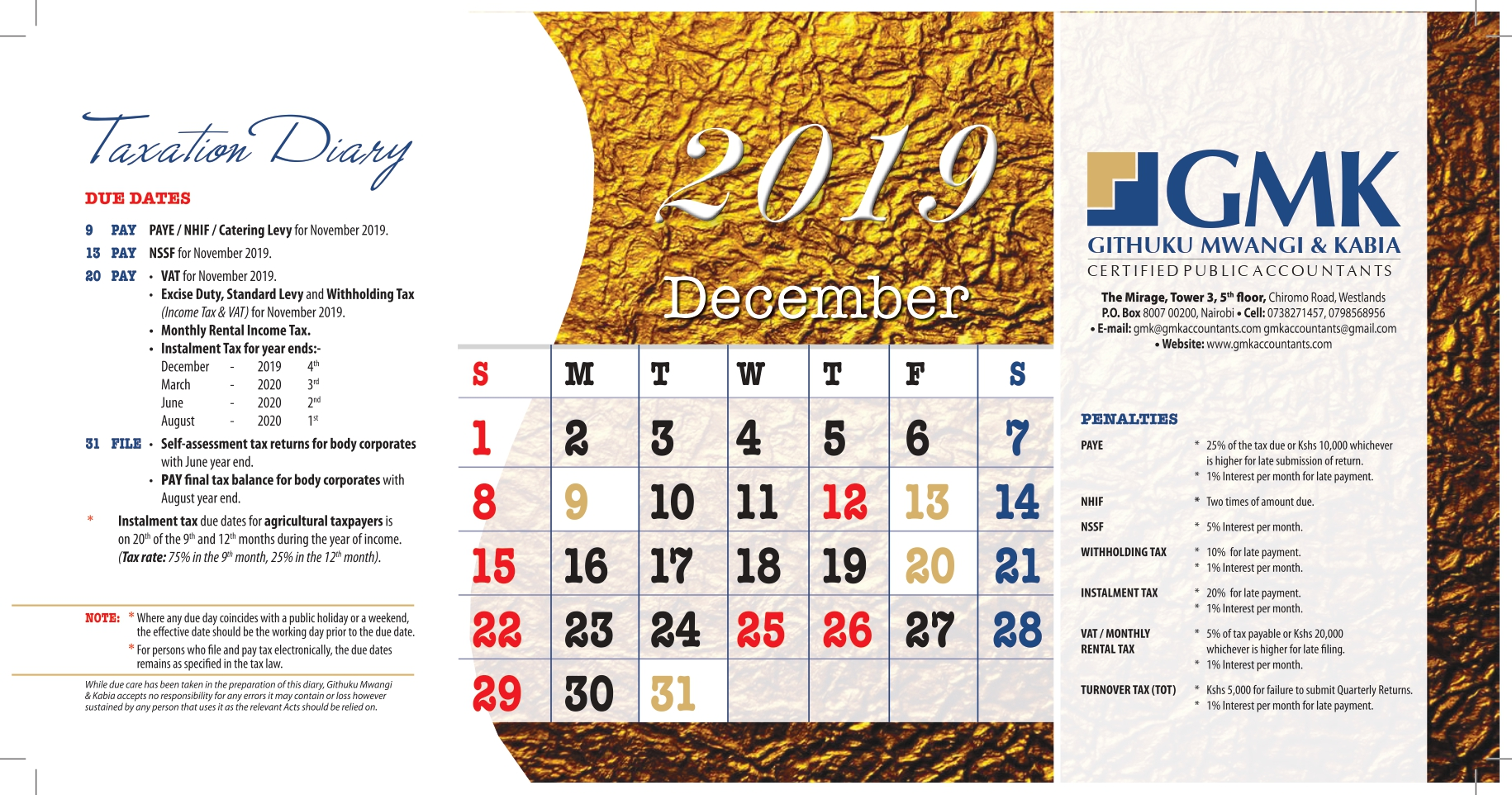 GMK Taxation Calendar: DECEMBER 2019