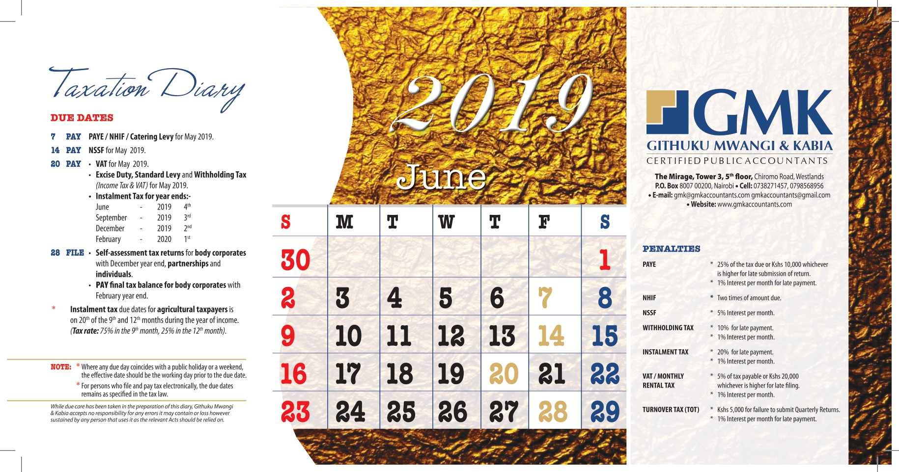 GMK Taxation Calendar: JUNE 2019