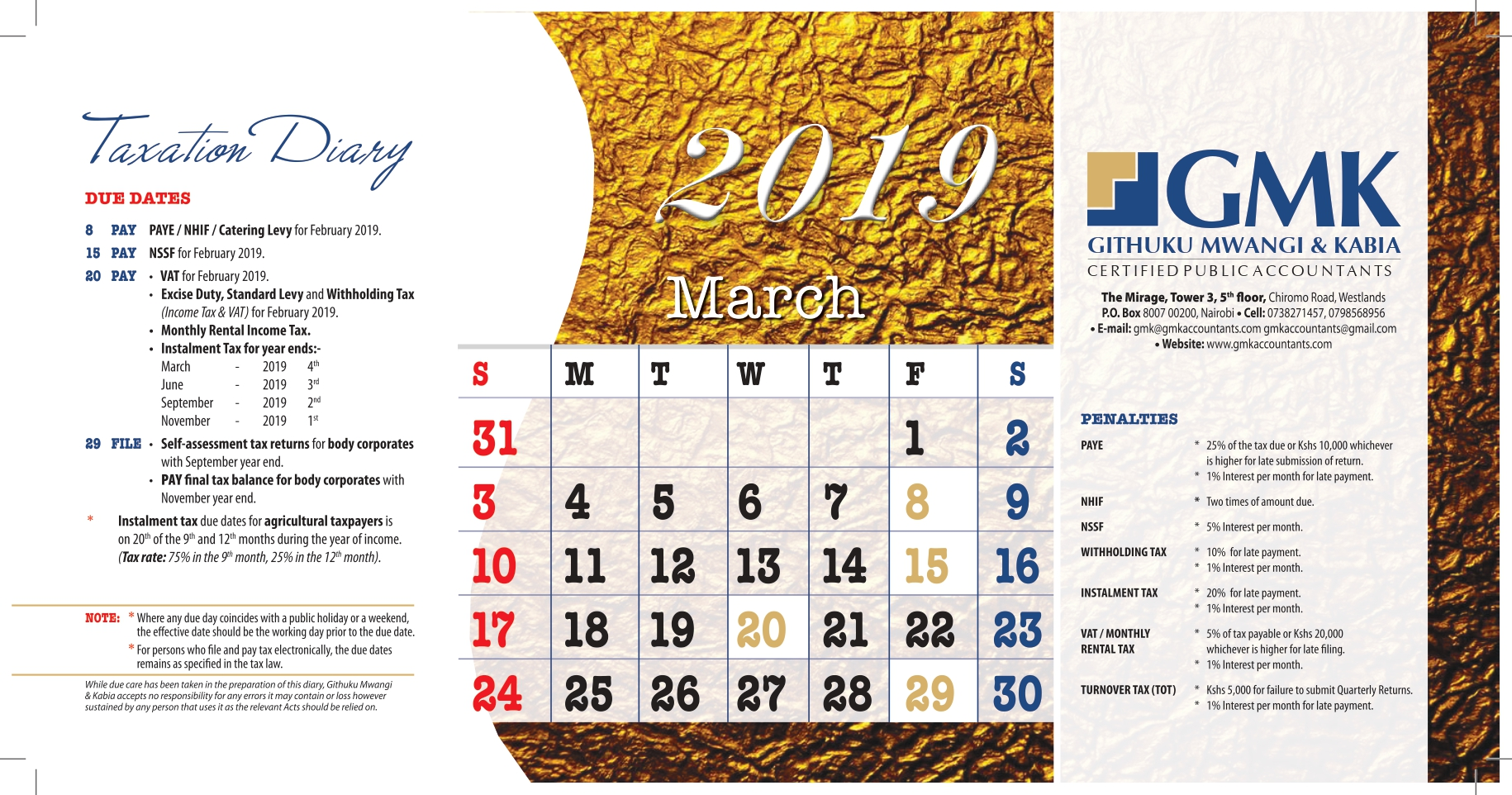 GMK Taxation Calendar: MARCH 2019