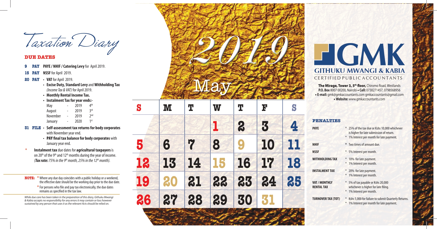 GMK Taxation Calendar: MAY 2019
