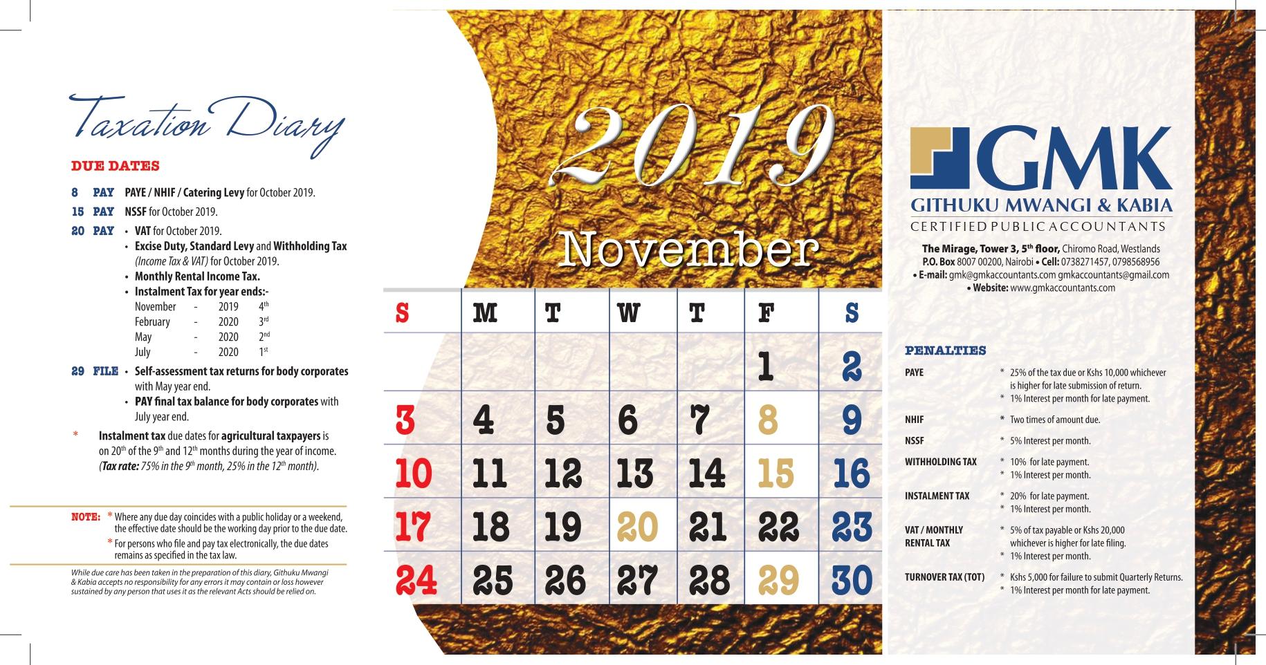 GMK Taxation Calendar: NOVEMBER 2019