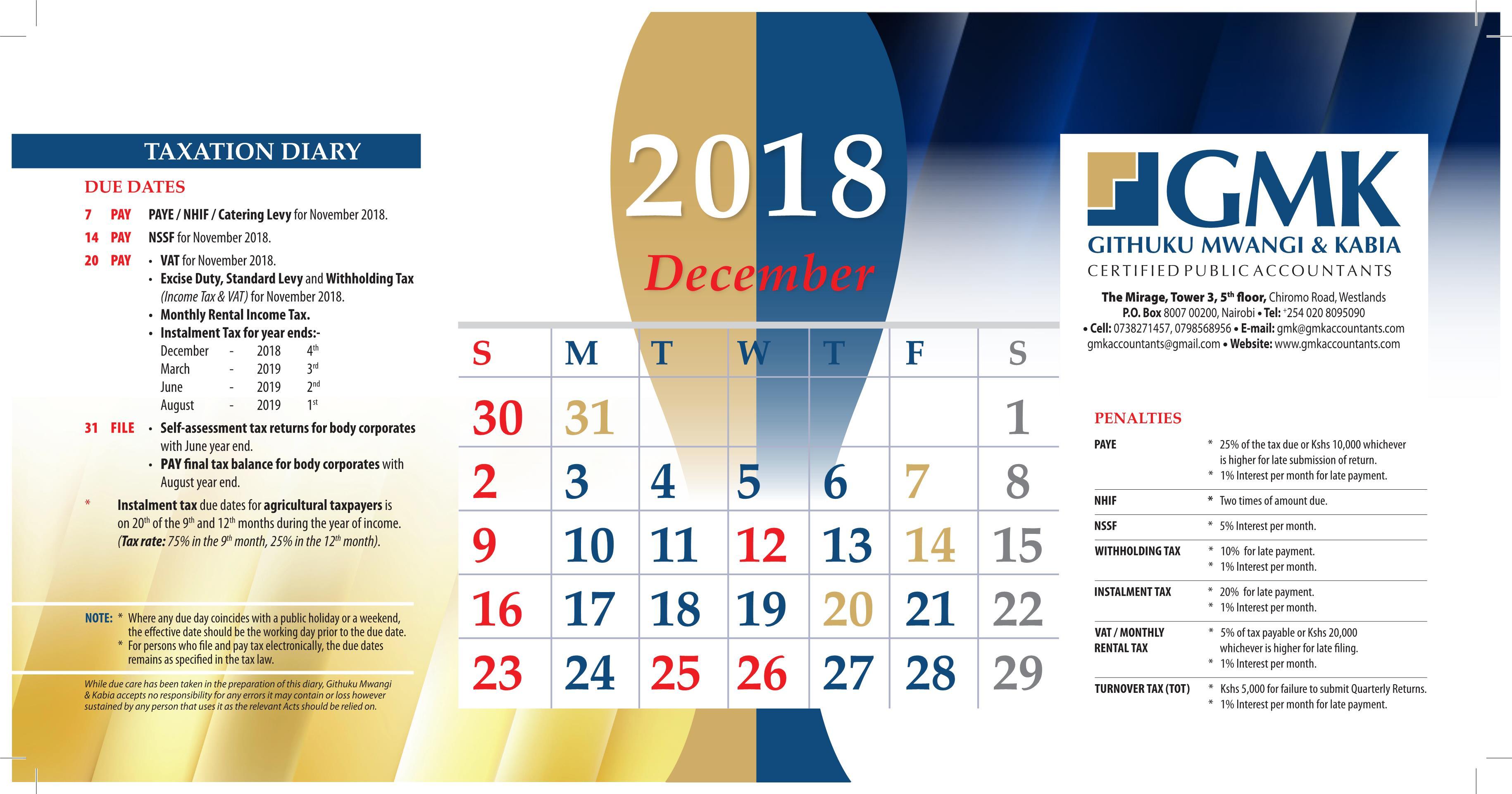 GMK Taxation Calendar: DECEMBER 2018