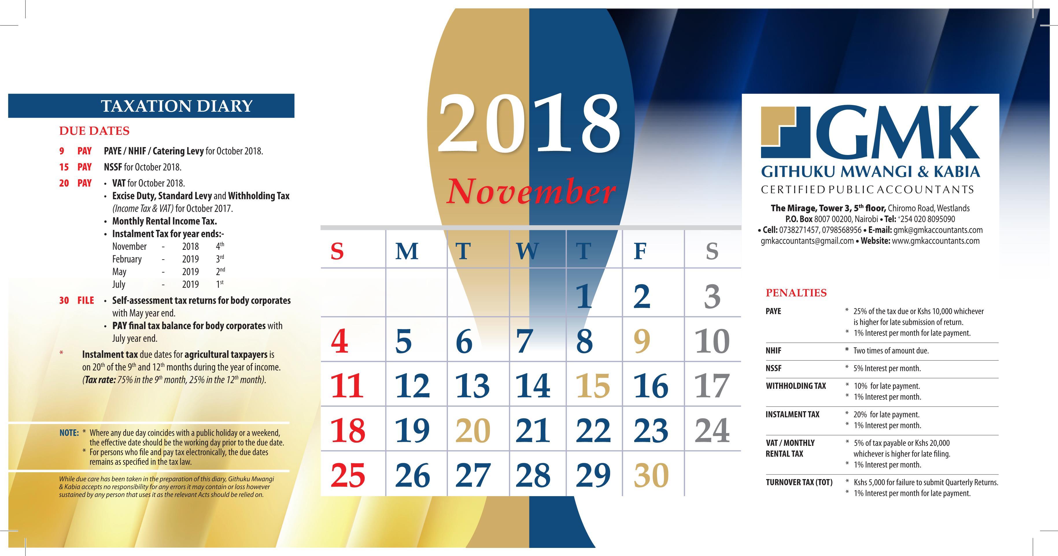 GMK Taxation Calendar: NOVEMBER 2018